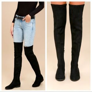 Miu Miu Black Leather Over the Knee High Boots